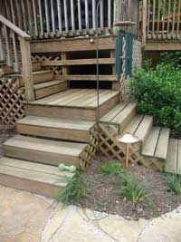 wood deck and steps